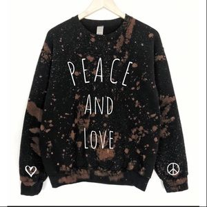 NEW Bleached Graphic Sweatshirt Peace and Love